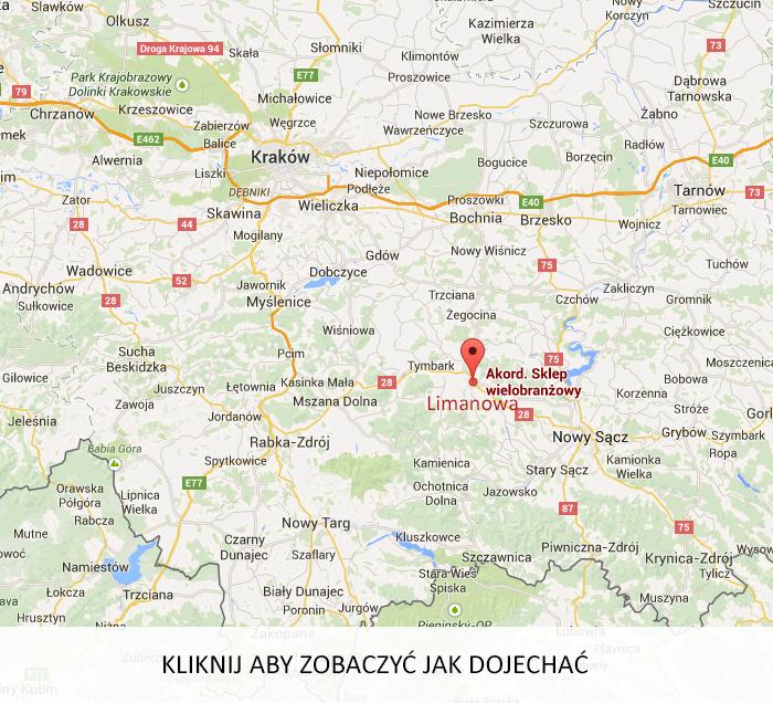 Mapa dojazdu AKord Limanowa